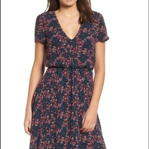 Wayf Blouson Navy Ditzy Roses MIdi Dress XXL NEW